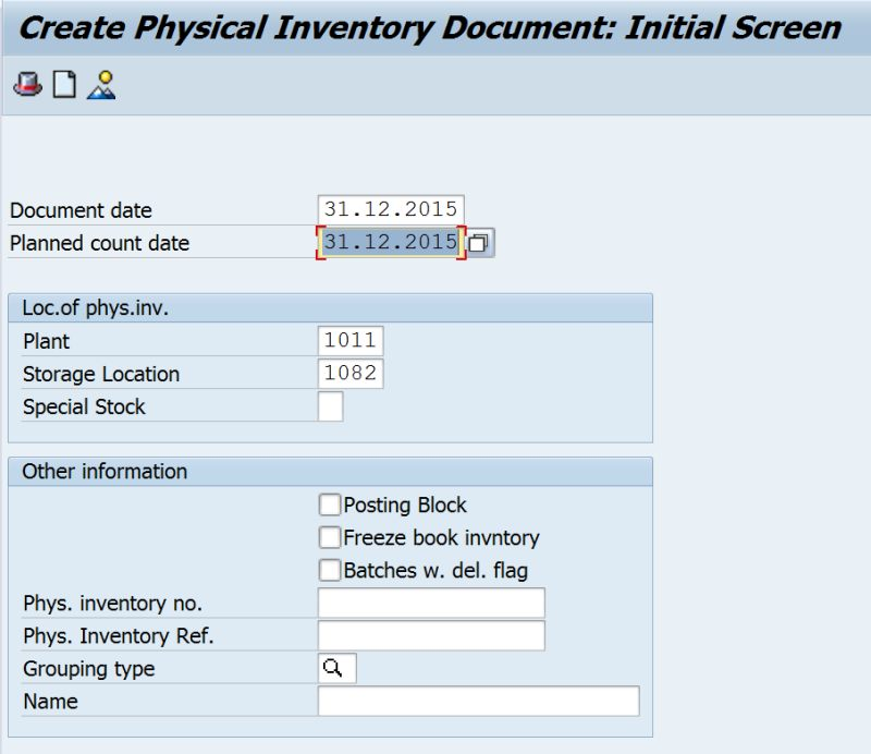 Sap Mi01 Create Physical Inventory Document Your